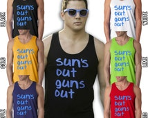 Sun's Out Guns Out Funny Summer Beach Party Shirts S-2XL