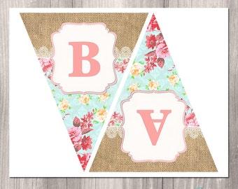 Shabby Chic Printable Banner, Floral Banner, Baby Shower Banner, Tea Party Banner, Printable Banner, Burlap banner, digital banner