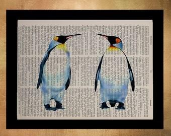 Emperor Penguins Dictionary Art Print Animal Antarctica Birds Nursery Art Childrens Room Decor Wall Art da896