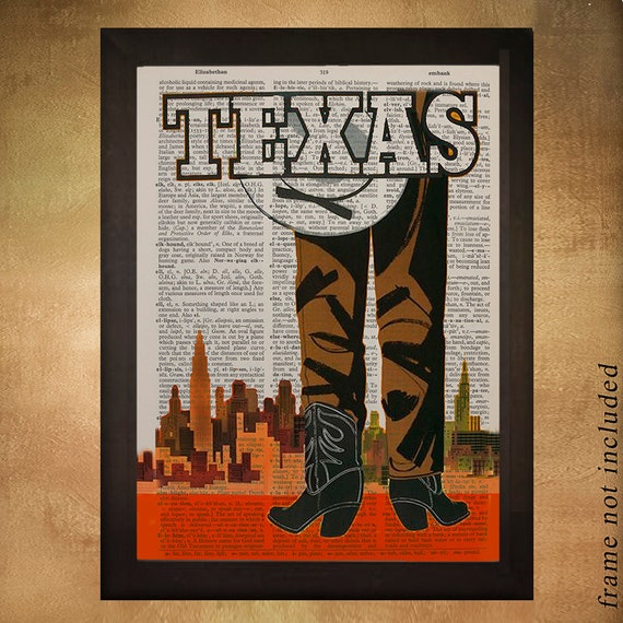 Vintage Texas Travel Poster Printed On Upcycled Dictionary