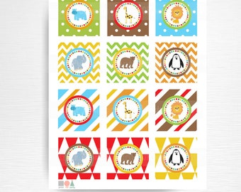 Zoo Birthday Party Printable Stickers Cupcake Toppers Medallions YOU Print Instant Download