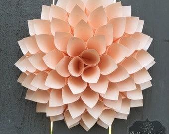 Paper Flower Dahlia- Peach - Paper Wreath - Paper Wall Art - Wedding Backdrop- Baby Shower - Nursery Decor - 3D - Baby Shower
