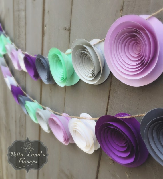 Purple Paper Flower Garland Gray White Mint Green
