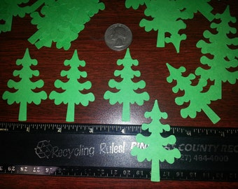 Lot of 36 Green Christmas Trees Card Stock Die Cut Scrapbooking, Card making, Paper crafting, Gifts, EK Succss