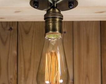 Real Brass socket Ceiling light Industrial ceiling  brass canopy light, Antique Edison Bulb, Lamp, Rustic Lighting