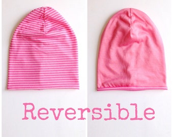 SALE- Baby Toddler Girl Jersey Pink Striped Reversible Slouchy Beanie Hat