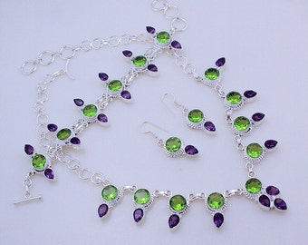 free shipping F-140 faceted Amethyst-Peridot .925 Silver Necklace - Bracelet - Earring Set