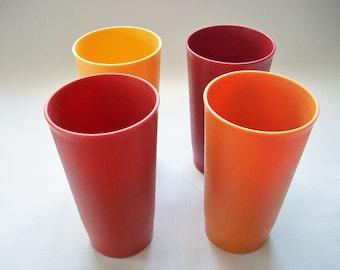 tupperware harvest tumblers vintage plastic autumn colored plastic beverage glasses set of 4 plastic
