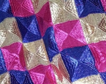 Phulkari  hand embroidry on Georgett dupeta a scarf ,a wrap . length is over 2 meter.width is over one meter.very pretty.