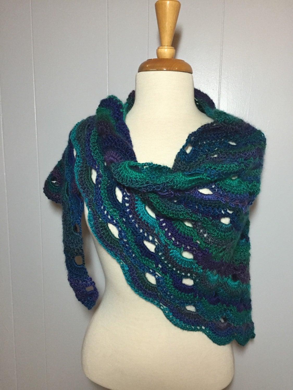 Gorgeous Crochet Virus Shawl Handmade Green Blue Shawl