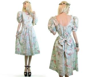 LANZ DRESS tea dress prom dress vintage 80s dress floral dress tea party dress cotton dress puff shoulder plunge back bow dress green m l