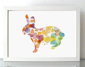 Rabbit Watercolor Painting - giclee Print - Rainbow colors - Home decor - Bunny Fantasy Animal Painting - Pattern Abstract Art Nursery Decor