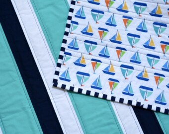 Nautical baby quilt or play mat