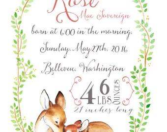 Birth Announcement. Birth information print.  Custom Announcement. Watercolor. Deer Invitation. Fawn Invitation. Baby Announcement.