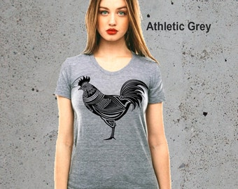 Womens Tribal CHICKEN HEN T Shirt Top)Rooster-Country Girl Gift,Chicken Tshirt-Country Clothing,Girlfriend Gift-Birthday Gift,Instagram Like