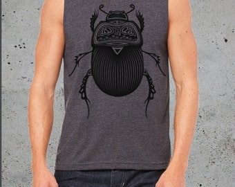 Mens TRIBAL Insect BEETLE Shirt Tank Top)Bugs-Boyfriend Gift-Birthday Gift him-Mens Clothing Muscle Tank Top-Tee Gift Graphic Tee,instagram