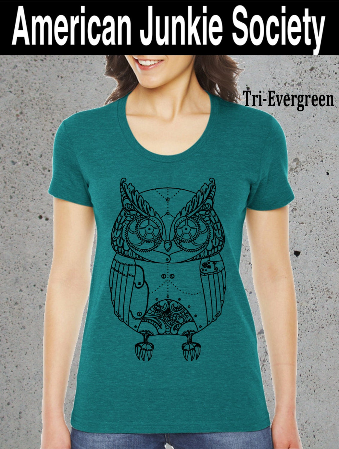 Womens robotic owl shirtbest selling by americanjunkiesoc for Selling shirts on etsy
