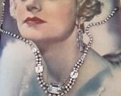 Vintage 1950s Clear Rhinestone Diamante Droplet Necklace