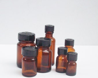 Apothecary Bottles from Merck / Brown Glass with Black Lids Assorted Sizes / Empty and Clean