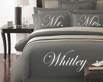 Mr. and Mrs. Personalized Duvet Cover and Pillow Sham Set