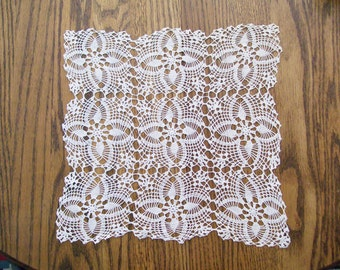 Vintage Hand Crocheted Square Doily in White