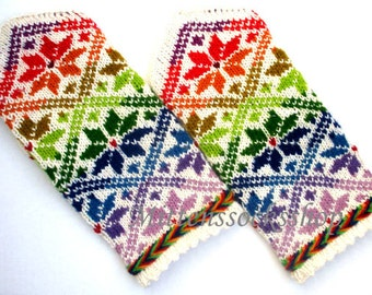 Rainbow Mittens Hand Knitted Wool Mittens Rainbow Gloves Hand Knitted Wool Gloves Patterned Mittens Colorful Women's Mittens Men's Mittens