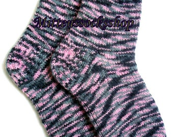 Purple Gray Black Socks Hand Knitted Very Warm Socks from Melange Colors Angora Wool Sleeping Socks Women's Socks Girl's Socks Men's Socks