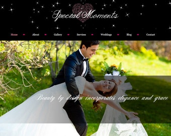 Special Moments - Premade WordPress Theme– Photo blog – Portfolio – Gallery – Black, Pink, Green – Mobile Responsive – Wedding Photography