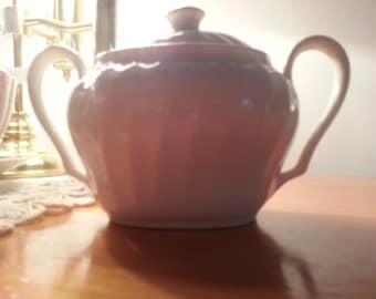 Vintage Salem Swirl Sugar Bowl White