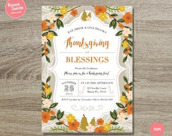 Thanksgiving Dinner Invitation // 5x7 Rustic Thanksgiving Printable Invitation - Thanksgiving Dinner Party - Fall Harvest Invitation Autumn