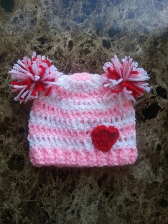 Items similar to Crochet Valentine Hat, Crochet Valentine ...