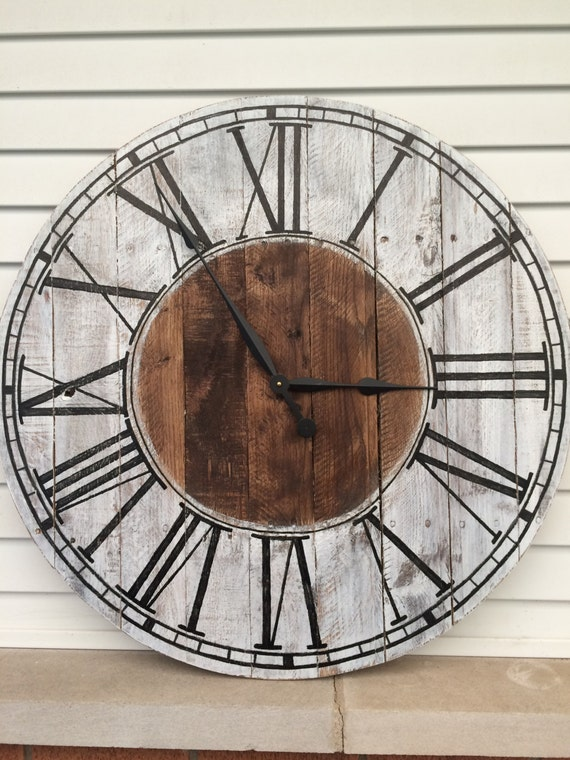 Farmhouse Style Wooden Pallet Clock 20 30 or by WestWarrenClocks
