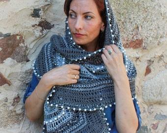 Grey Crochet Scarf, Wrap Grey Shawl, Warm Crochet Scarf, Shawl Womens, Scarf Warm Wrap, Rectangular Scarf, Crochet Bridal Shawl, OOAK
