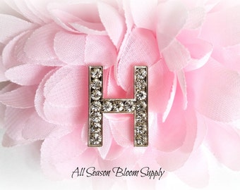 "Letter ""H"" Crystal Rhinestone Button - Rhinestone Button - Acrylic Rhinestone -  23 mm"