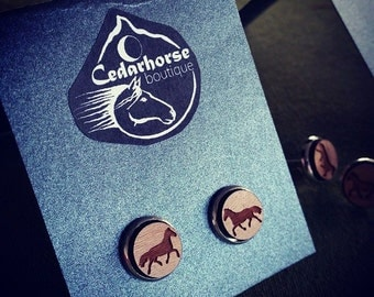 Wooden Horse Earings by Cedarhorse Boutique at HorseOm