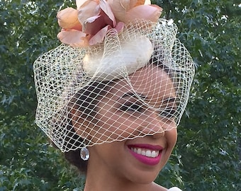 GOLD Metallic Leather Fascinator with Peach and Ivory Magnolia Flower-Ivory Veiling-Wedding-Races-Ascot-Kentucky Derby-Polo Matches-Brides