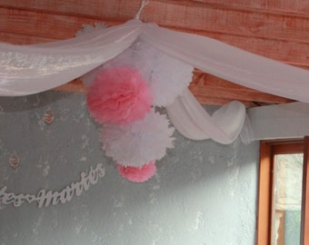 Flower Pompom in red, pink, or white paper