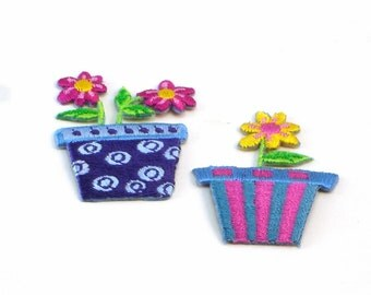 Potted Flowers Set of 2 Embroidered Applique