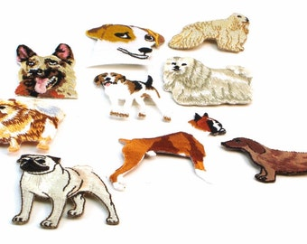 Assorted Dog Breed Embroidered Applique Patchs