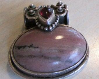 Sterling Silver Rhodonite and Garnet Pendant