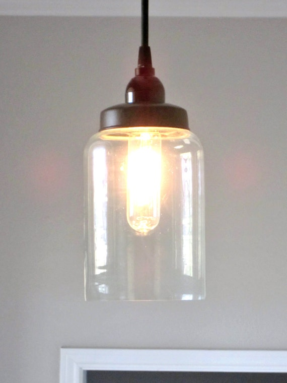 Lighting Glass Cylinder Pendant Rustic By OutoftheWdworkDesign