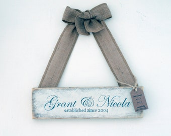 Personalised Wooden Name / Date 'Established Since' Sign - Rustic, Shabby Chic, Vintage Style, Wedding Gift, Anniversary, Mr & Mrs
