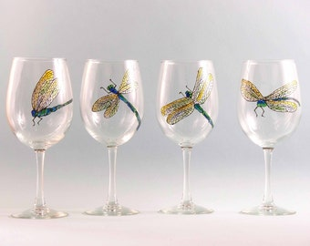 Hand Painted Dragonfly Wine Glasses - Hand Painted Wine Glasses - Set of Four