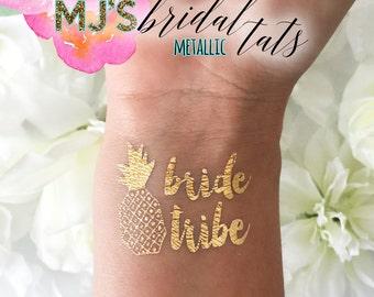 METALLIC Gold Bachelorette Pineapple Cute Waterproof Temporary Tattoo for Bridal Party Bachelorette Bridesmaid Maid of Honor Bride Wedding