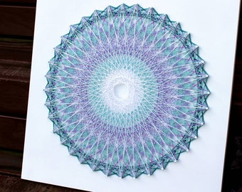 Handmade White Wooden Mandala Wall Hanging ( Teal & Purple )