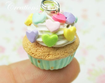 Teal Rainbow Hearts Cupcake Charm Miniature Food Jewelry Polymer Clay Charm Handmade Gift Mini Food