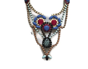 CAT WALK hand painted statement bib rhinestone necklace
