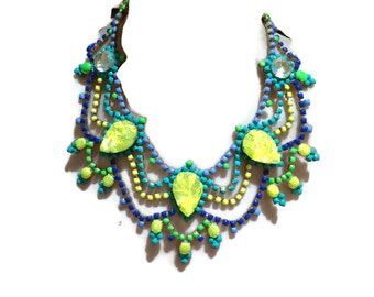 GLOWING neon painted rhinestone necklace