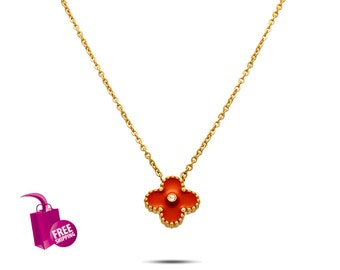 Red Clover Turquoise Necklace Fashion Simple Four Leaf Clover