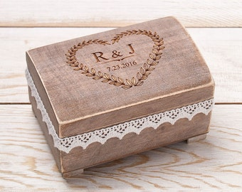 Ring Bearer Box Wedding Ring Box Custom Wood Wedding Ring Bearer Box  Rustic Wooden Ring Box